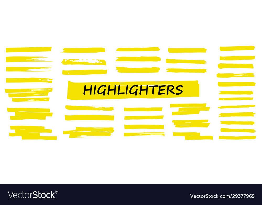 Highlighter collection marker yellow set