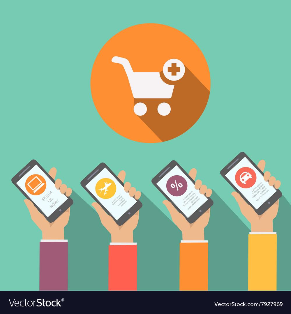 Mobile online shopping apps in flat design hands