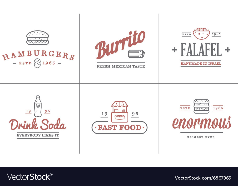 Set of Fastfood Fast Food Elements Icons and
