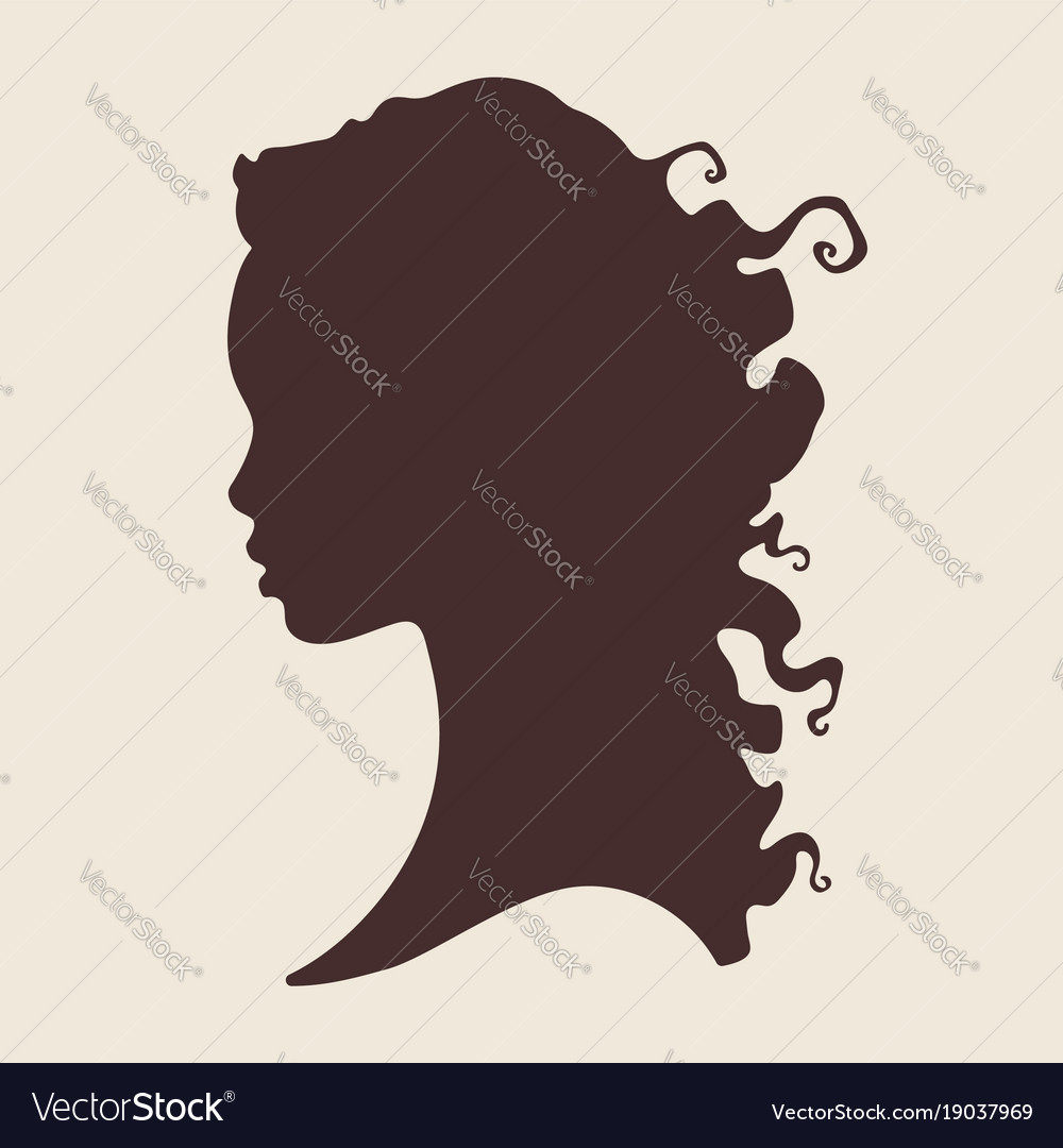 Silhouette of beautiful curly african woman in