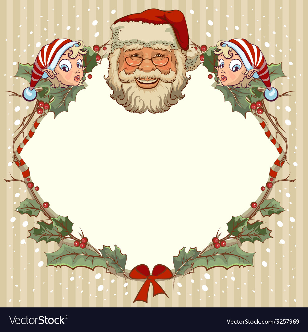 The head of Santa Claus and gnome Template cards Vector Image
