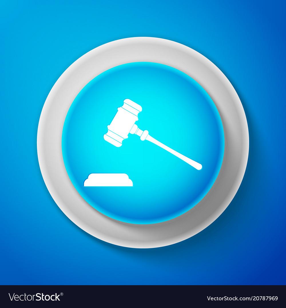 White judge gavel icon isolated on blue background