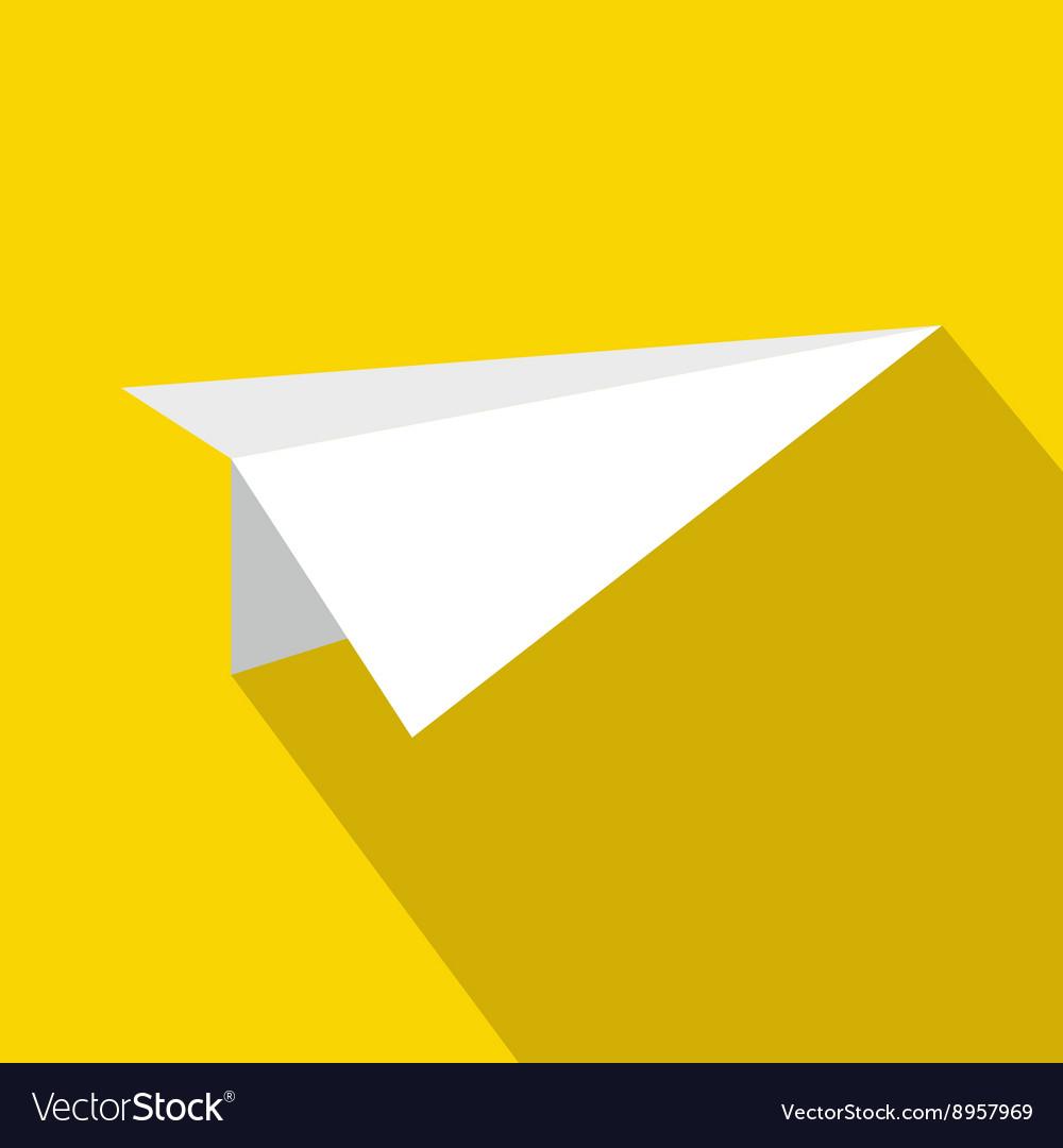 White paper plane icon flat style