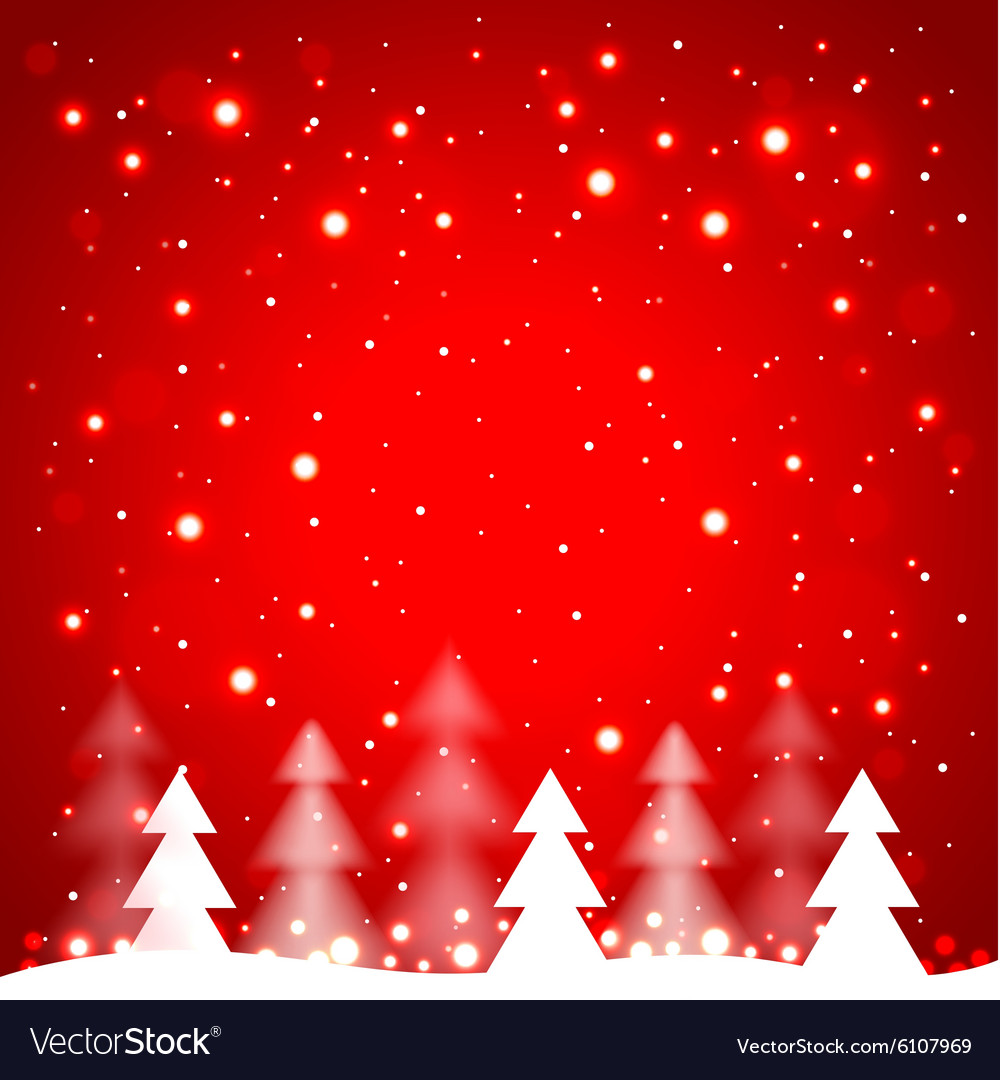 White Simple Christmas Trees On Red Background Vector Image