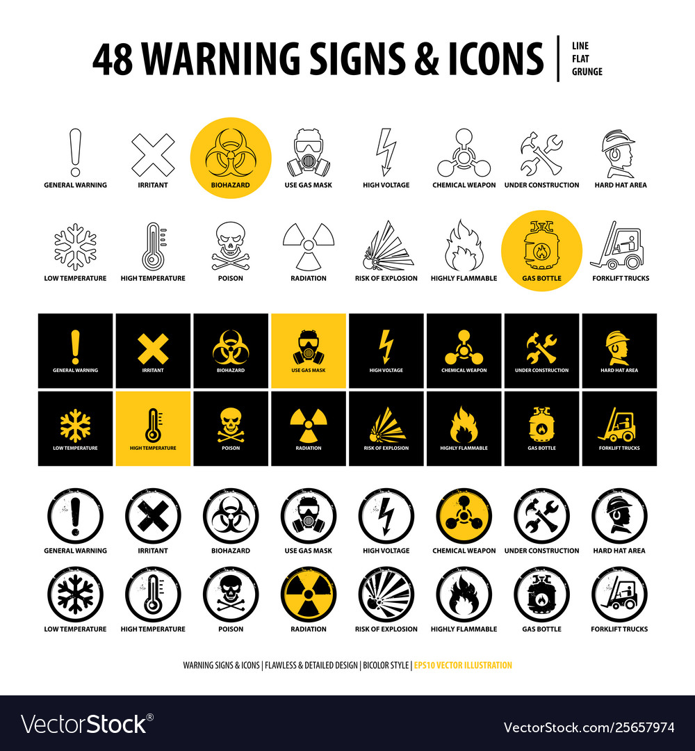 48 warning signs and icons vector