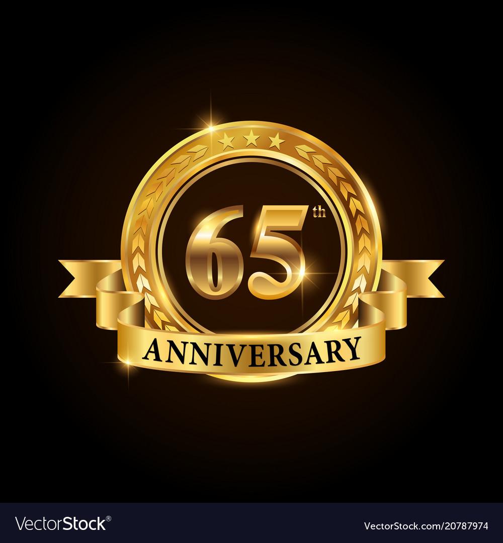 65 years anniversary celebration logotype vector image
