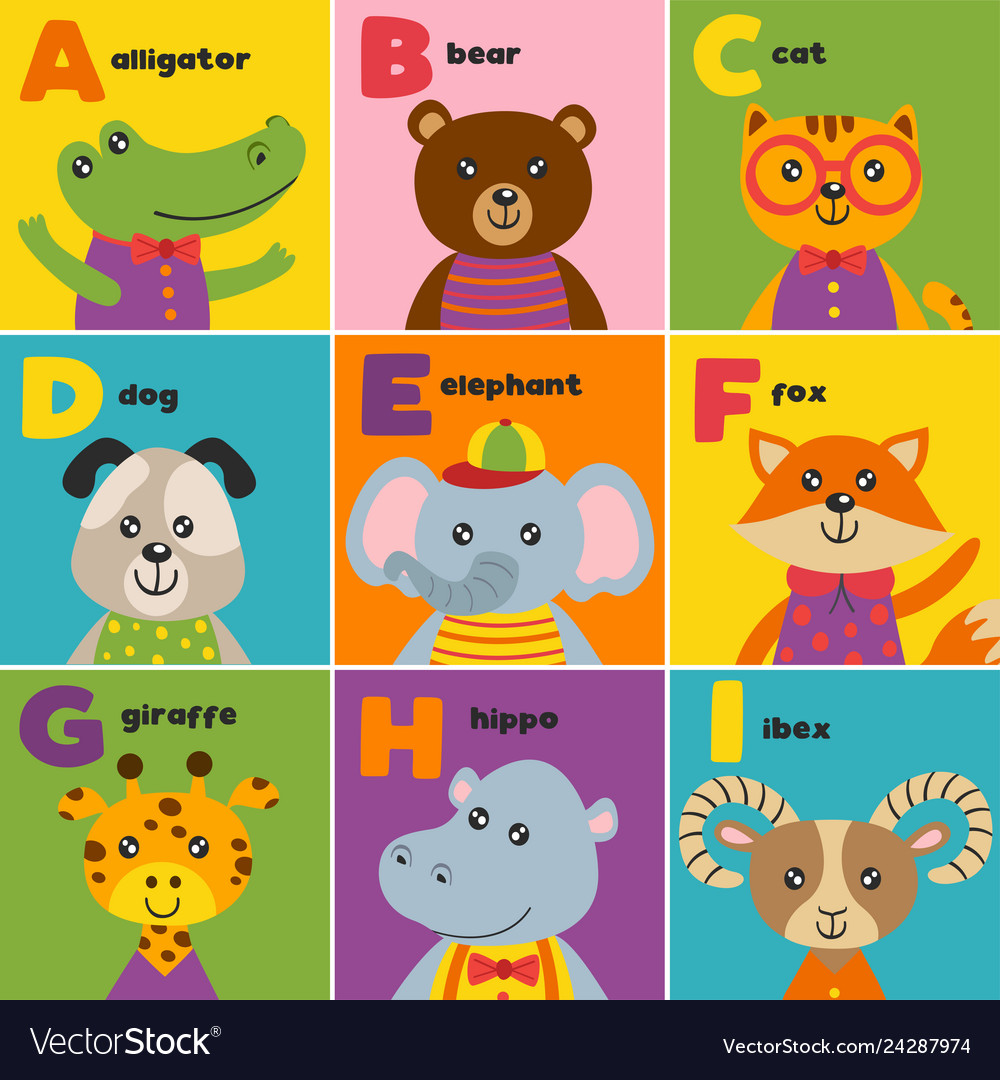Alphabet card with cute animals a to i