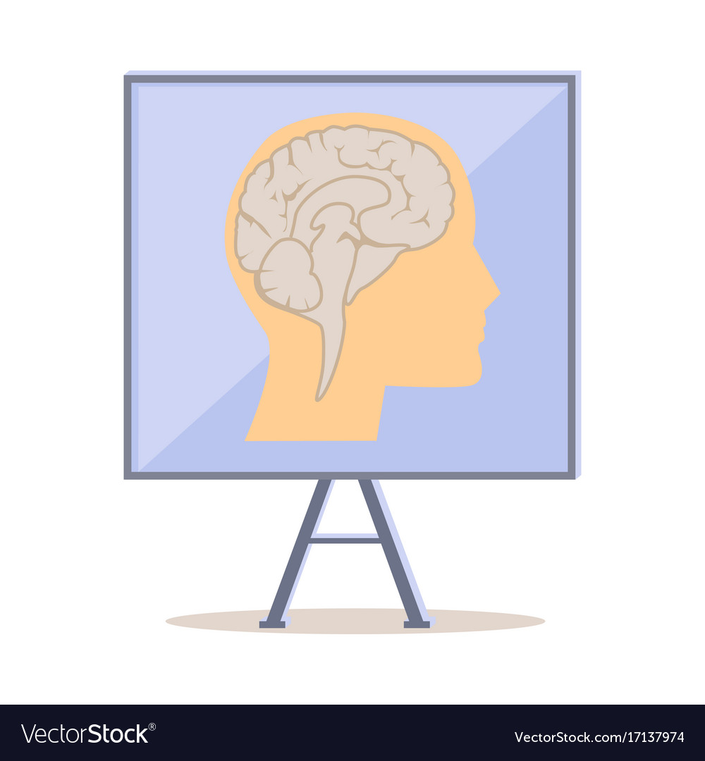 Board with human head silhouette and brain