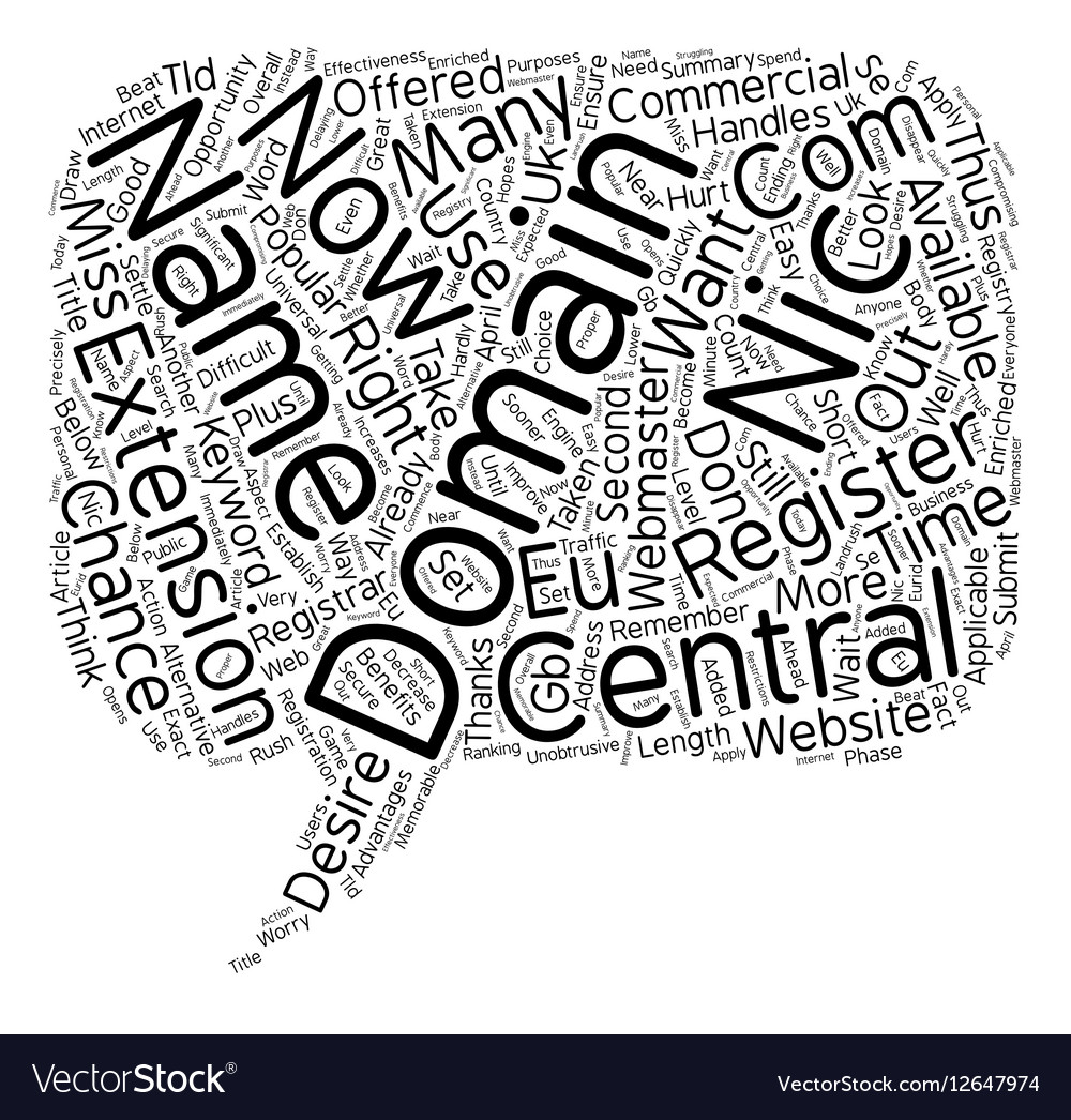 Central Nic Domains text background wordcloud