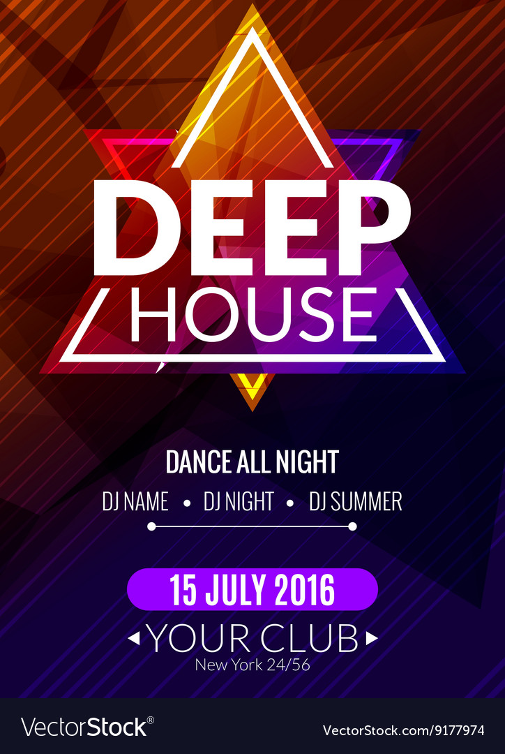 Club electronic deep house music poster Musical