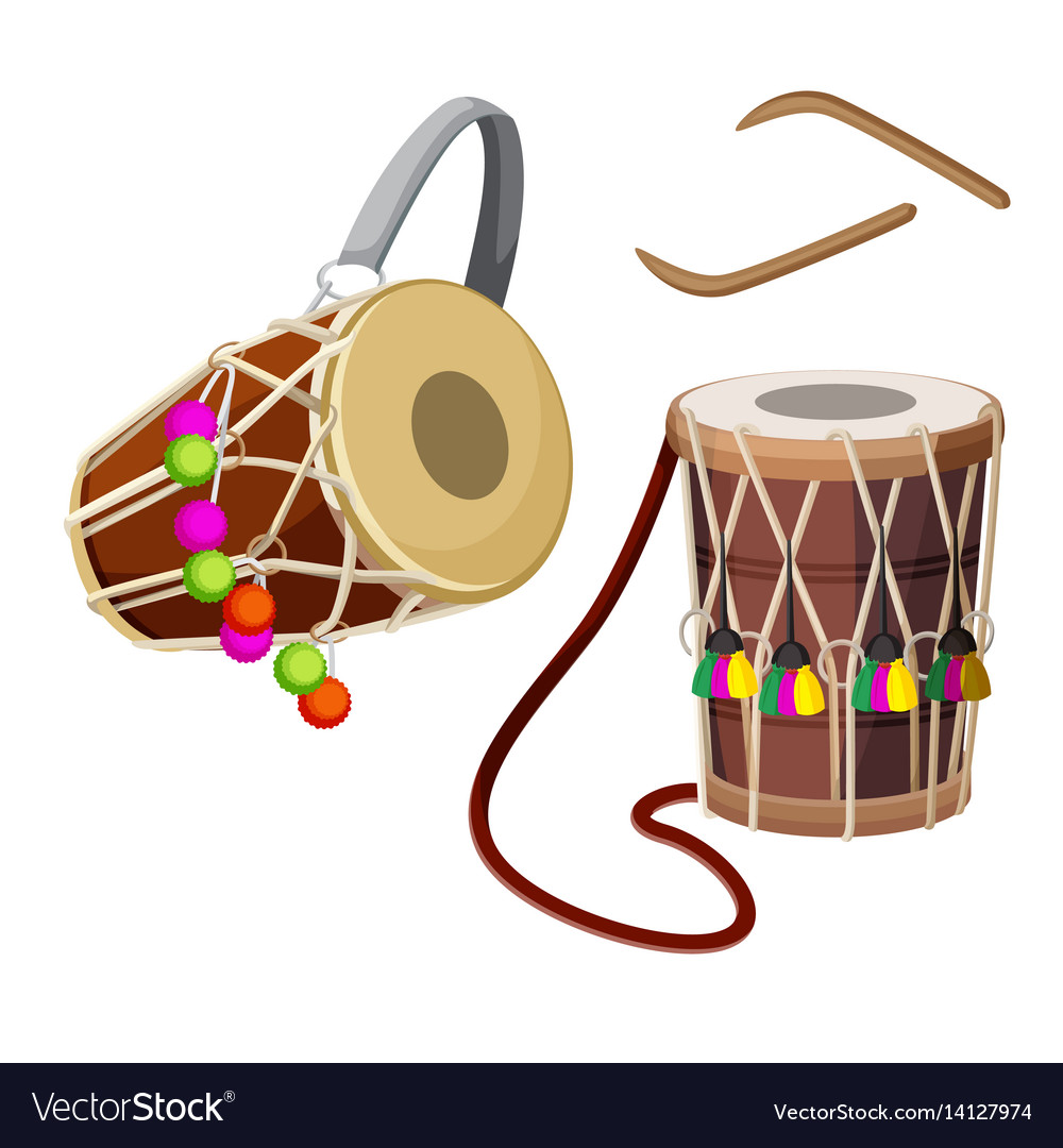 Dhol types of double-headed drum and wooden sticks vector image