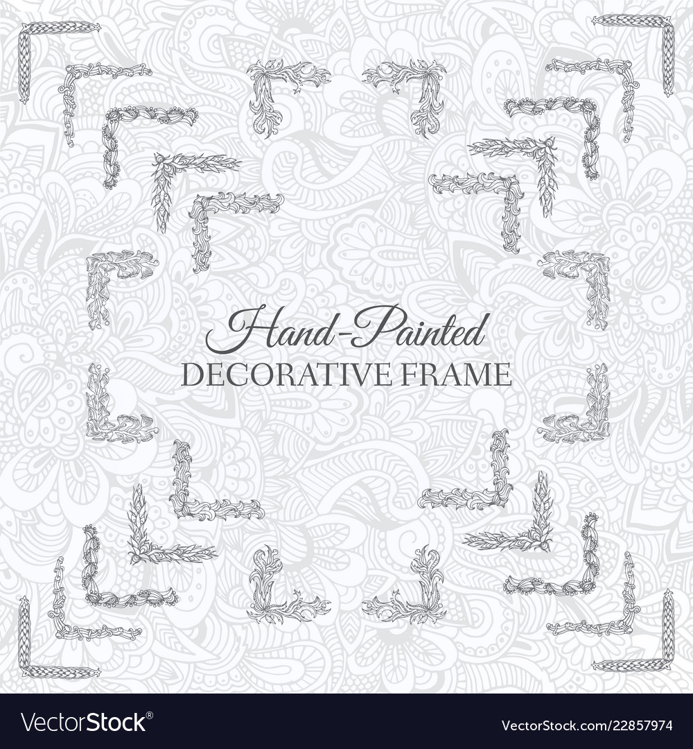 Hand drawn abstract background ornament frame on