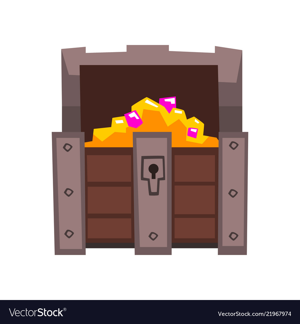 Opened treasure chest full golden coins and