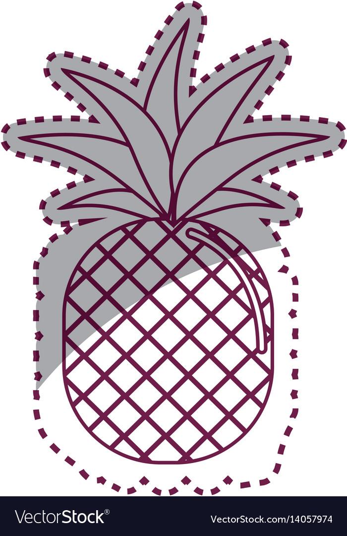 Sticker silhouette pineapple fruit icon stock vector image