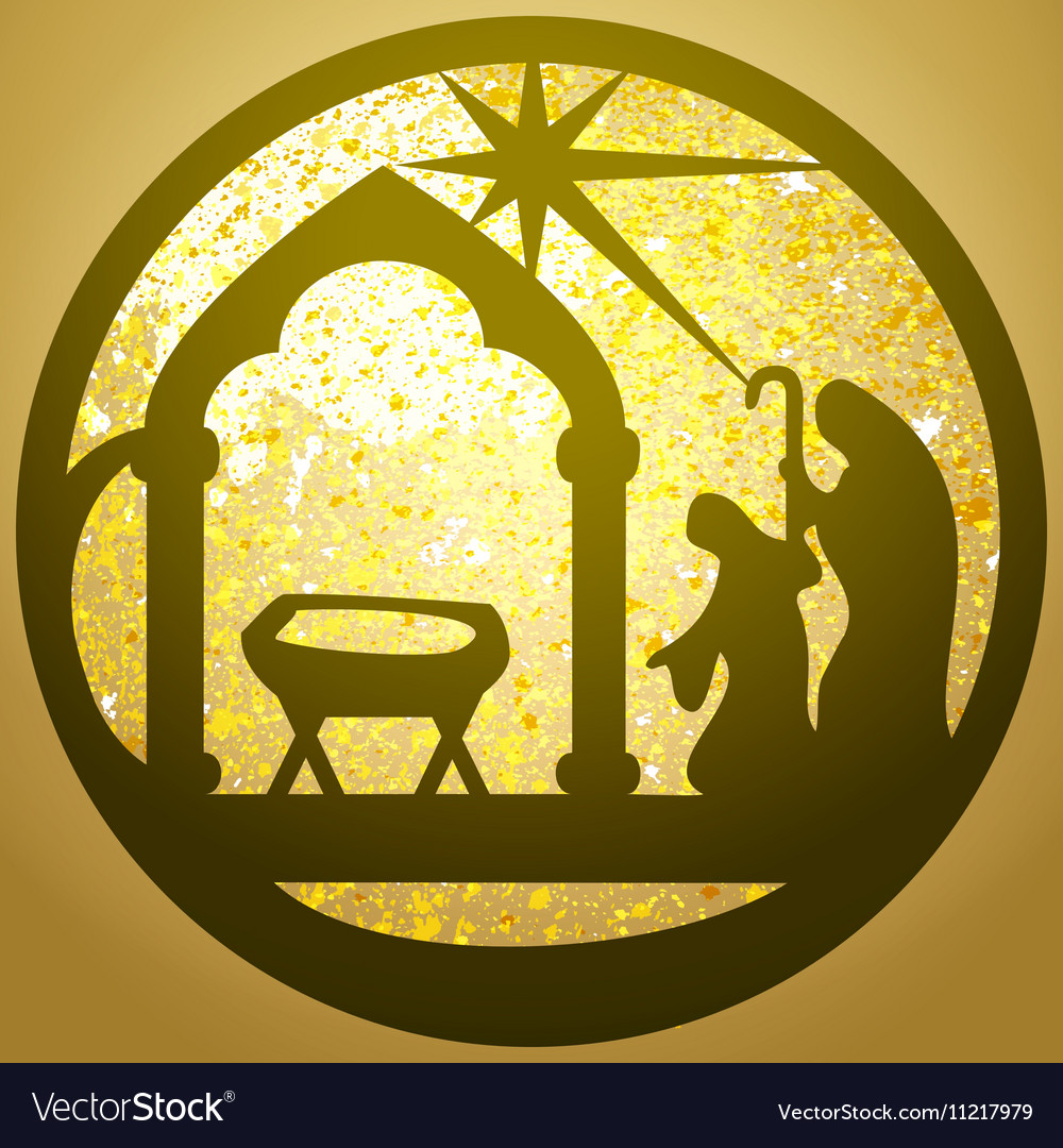 Adoration of the Magi silhouette icon gold