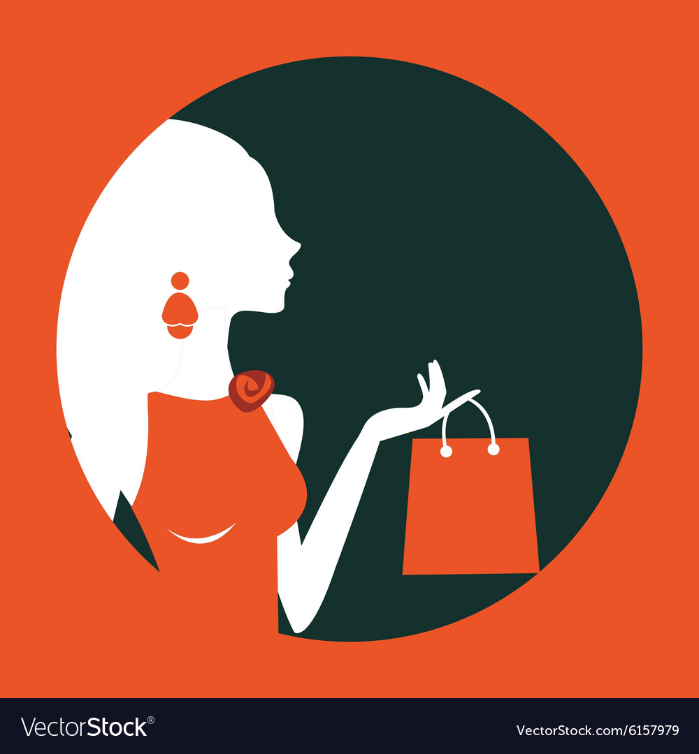 Beautiful woman shopping composed in a circle