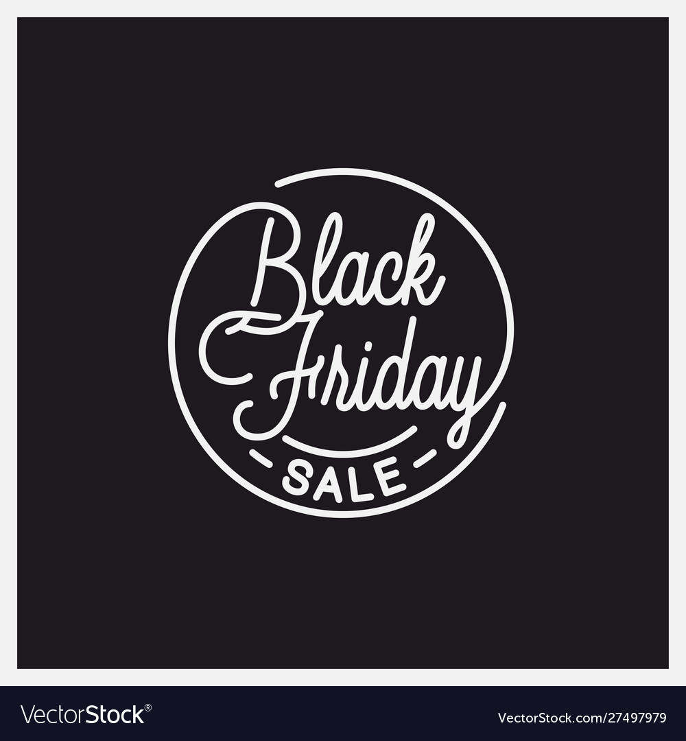 Black friday logo round linear friday sale