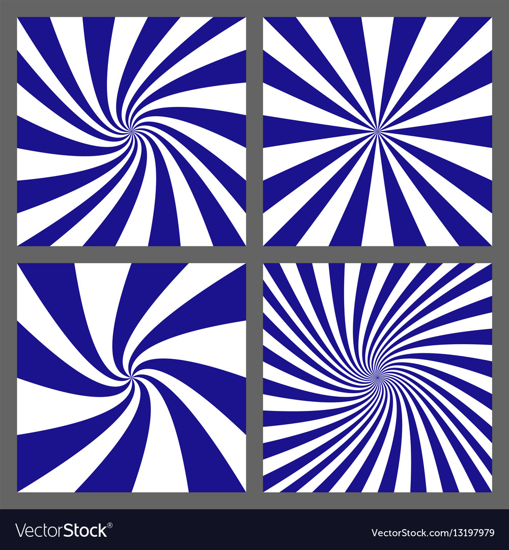 Blue white spiral and ray burst background set