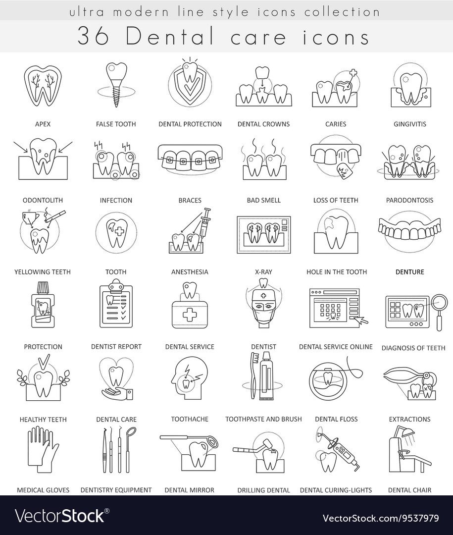 Dental care ultra modern outline line icons