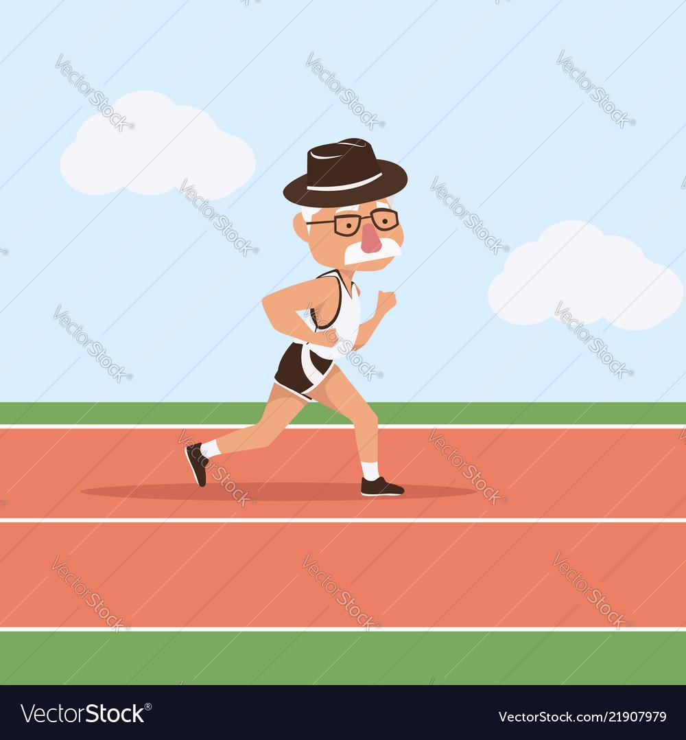 Elderly man attractive running in racetrack