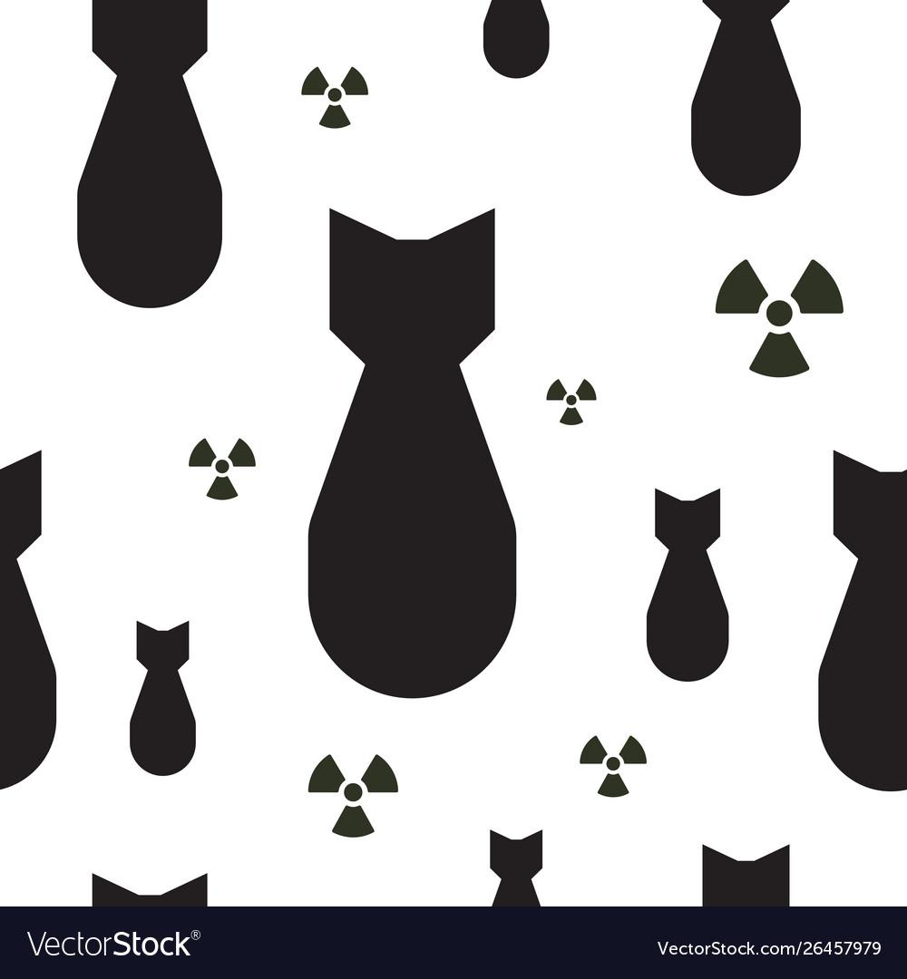 Falling atom bombs with radiation symbols black