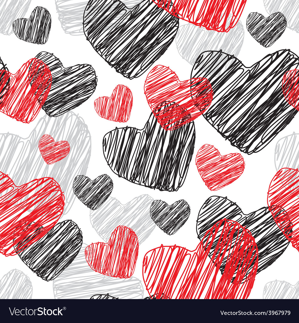 Funny seamless pattern with hearts