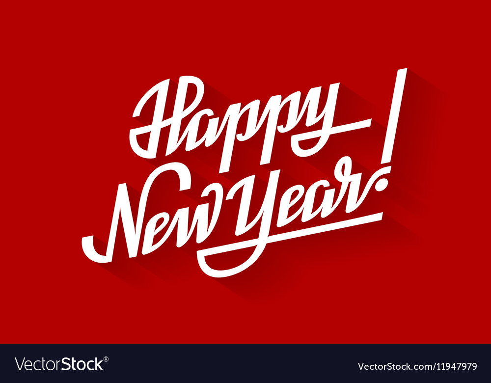 Happy New Year Holiday lettering on red