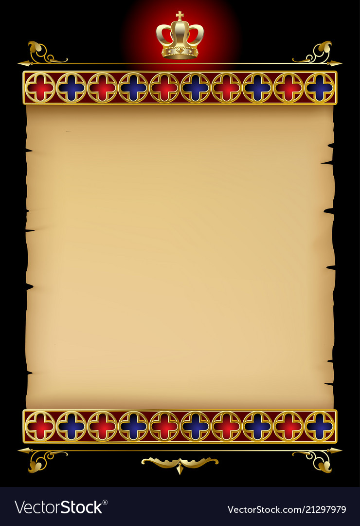Old parchment with gold gothic ornament and