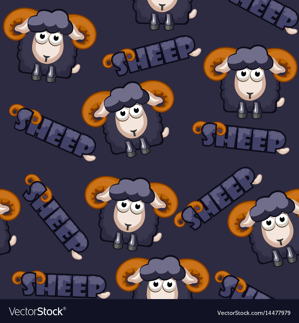 Seamless pattern square cartoon black sheep