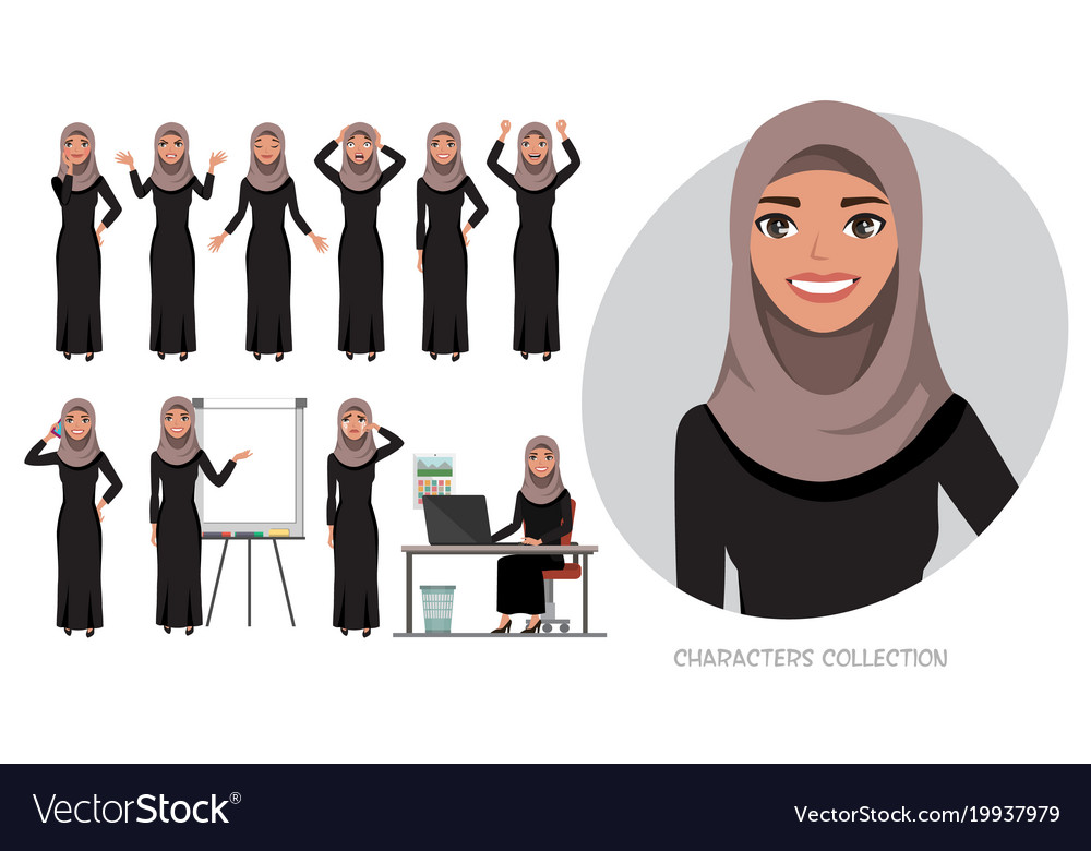 Set of emotions for arabic business woman