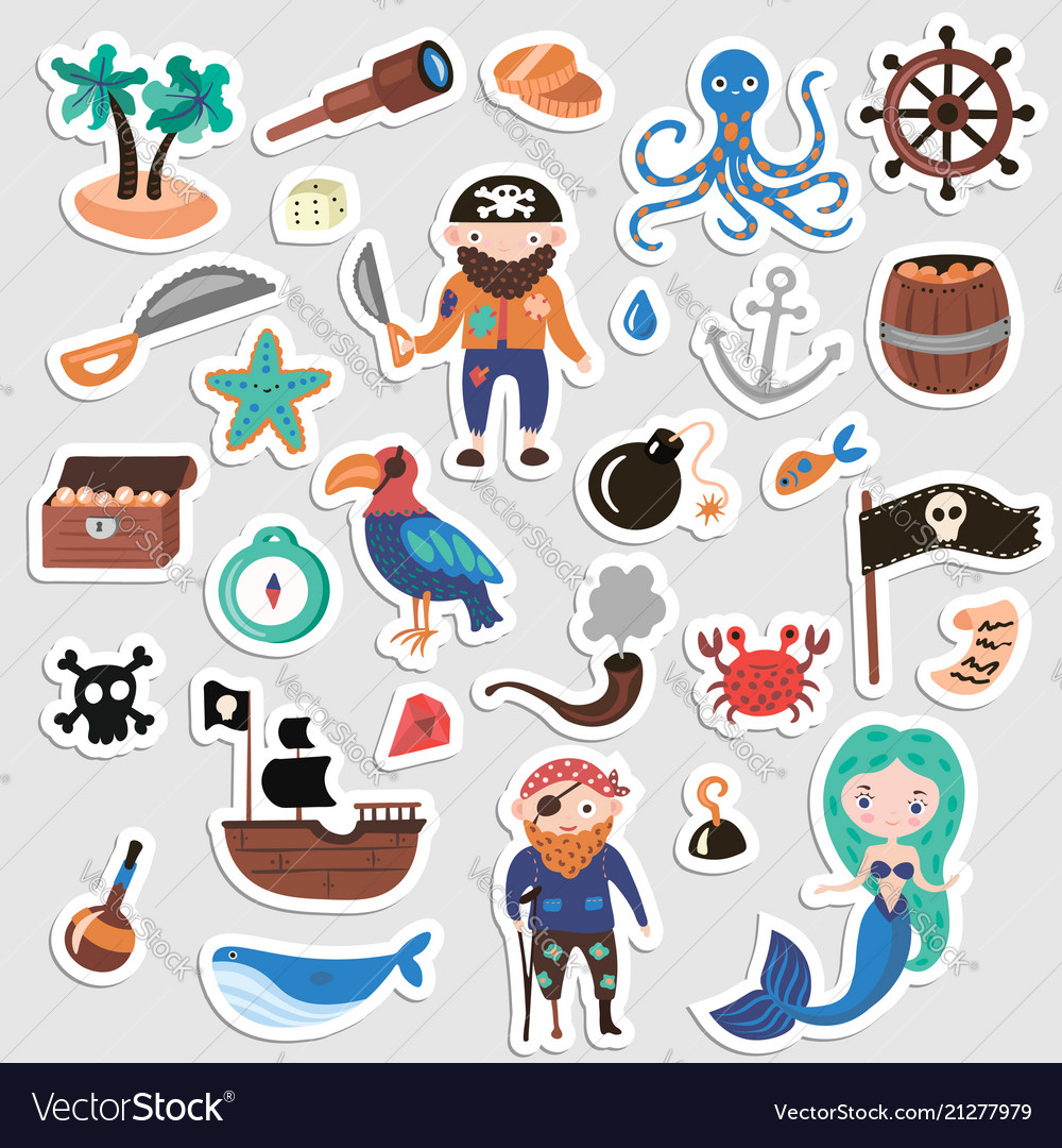 Set of pirates cartoon stickers adventures
