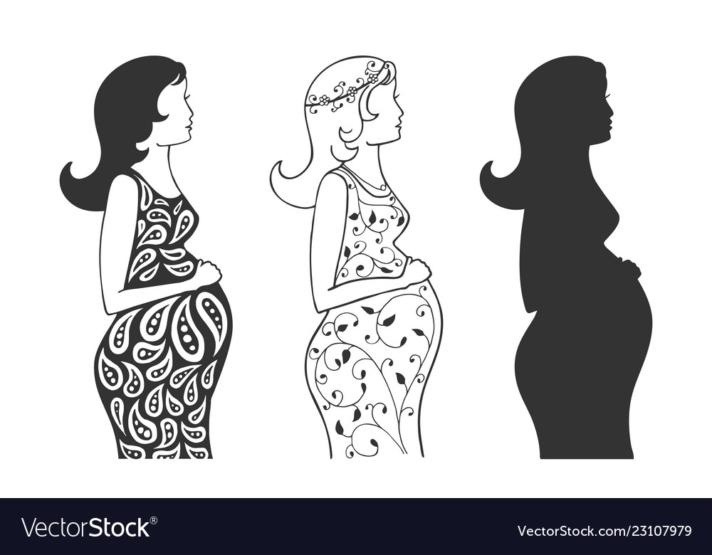 Set silhouettes of a pregnant girl