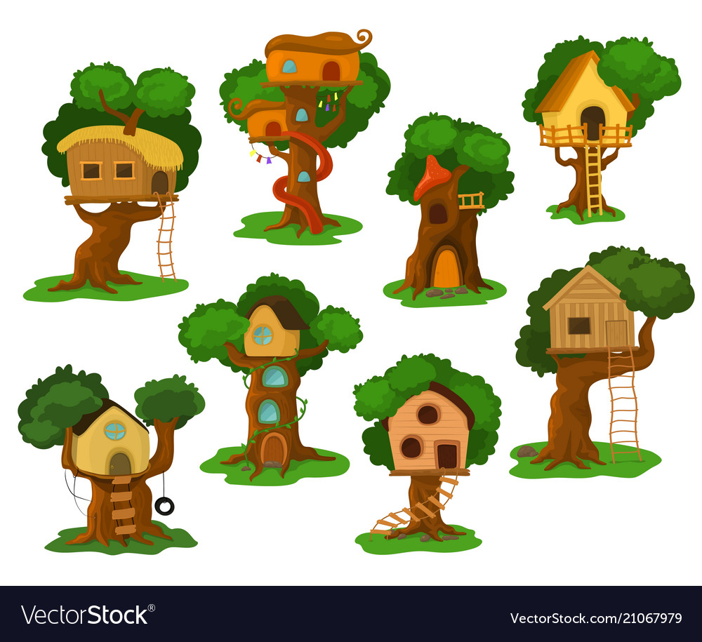 Tree house wooden playhouse building on oak