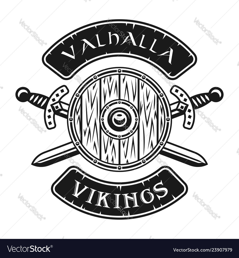 Viking shield and crossed swords emblem