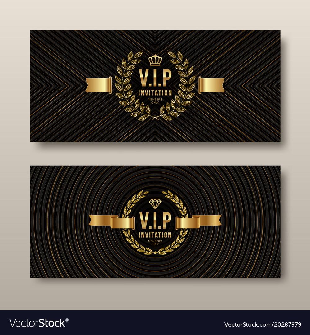 Vip Golden Invitation Template Vector Image