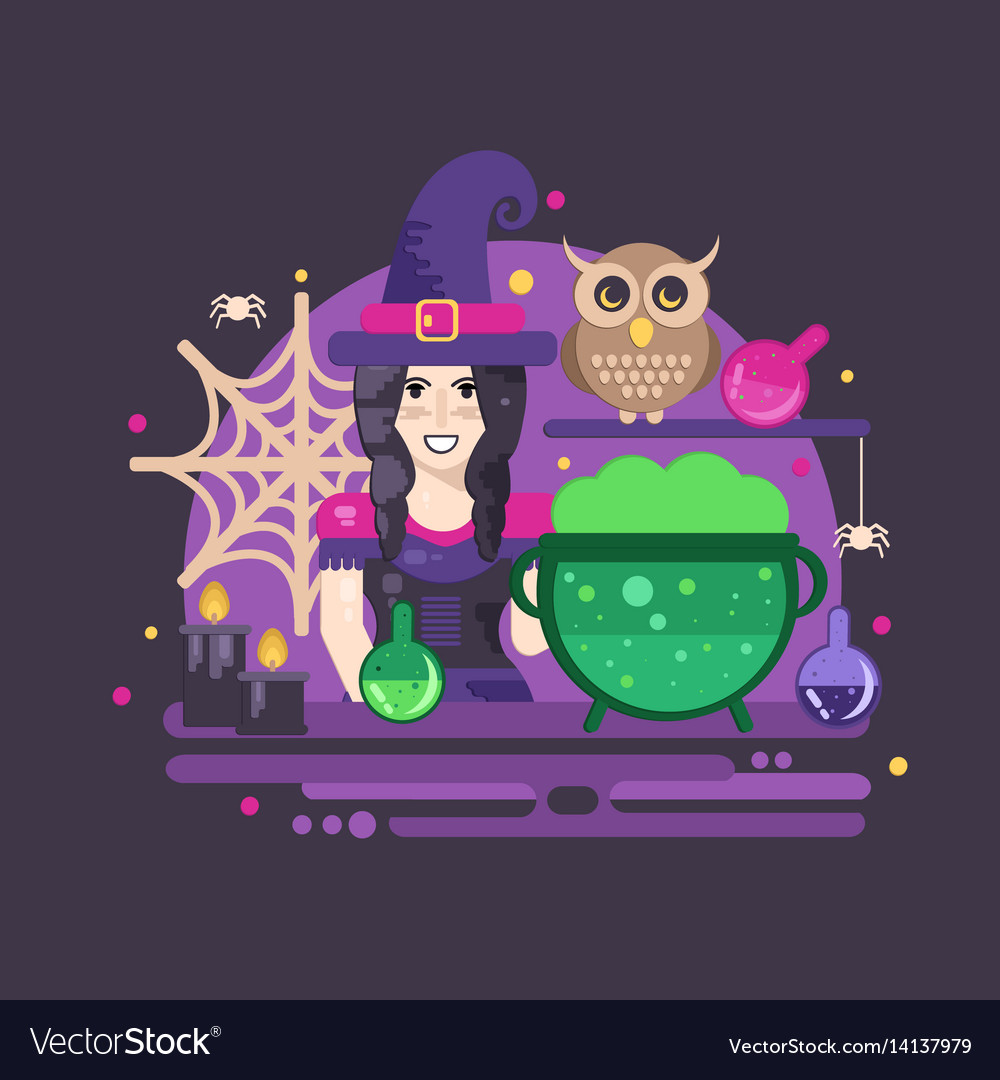 Witches cauldron halloween composition vector image