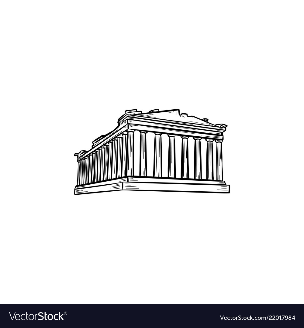Acropolis in athens hand drawn outline doodle icon