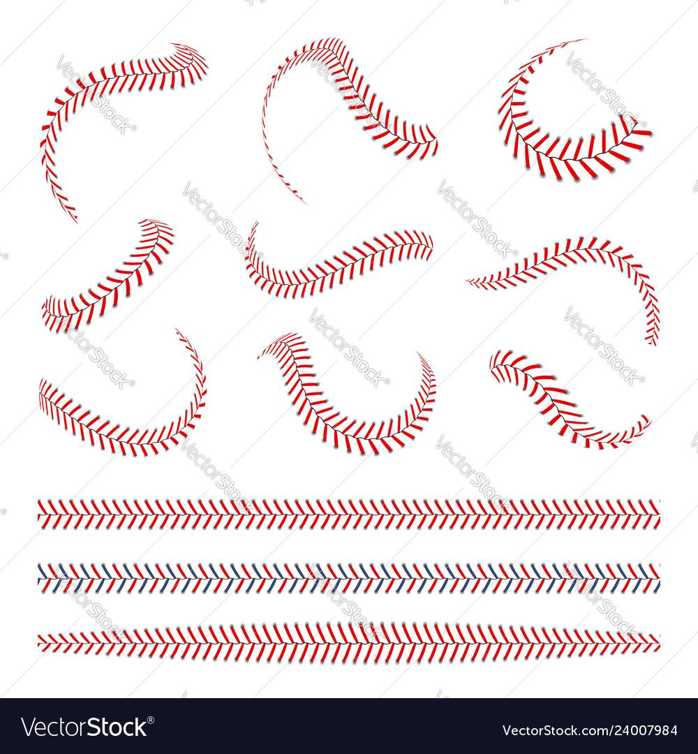 Baseball laces set baseball stitches with red