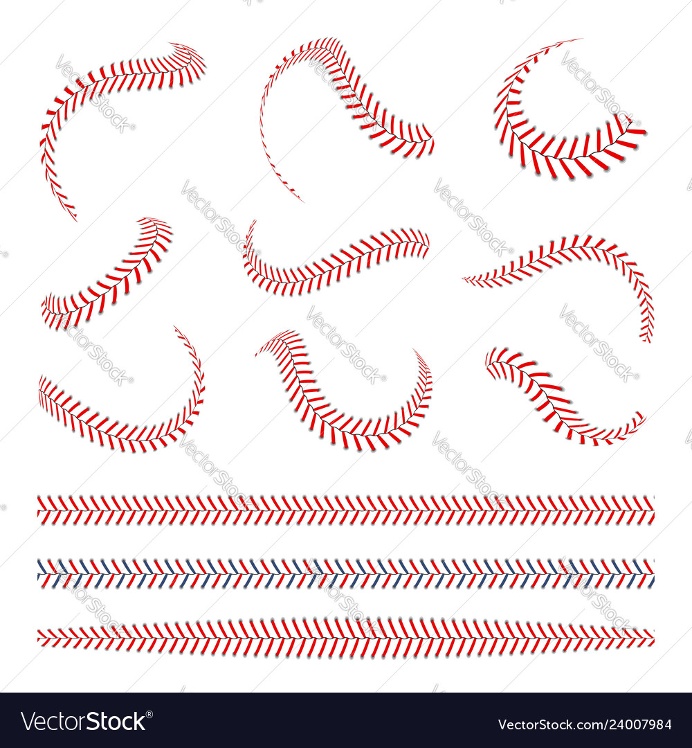 Baseball laces set stitches with red