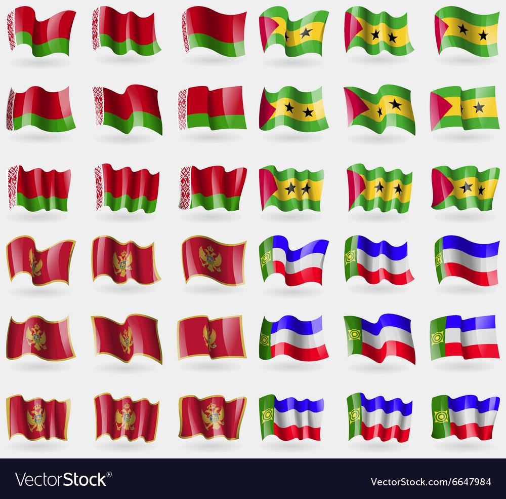 Belarus Sao Tome and Principe Montenegro Khakassia vector image