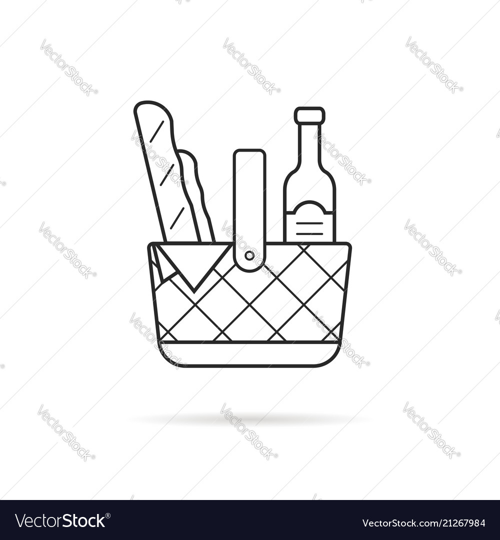 Black thin line picnic basket icon with food