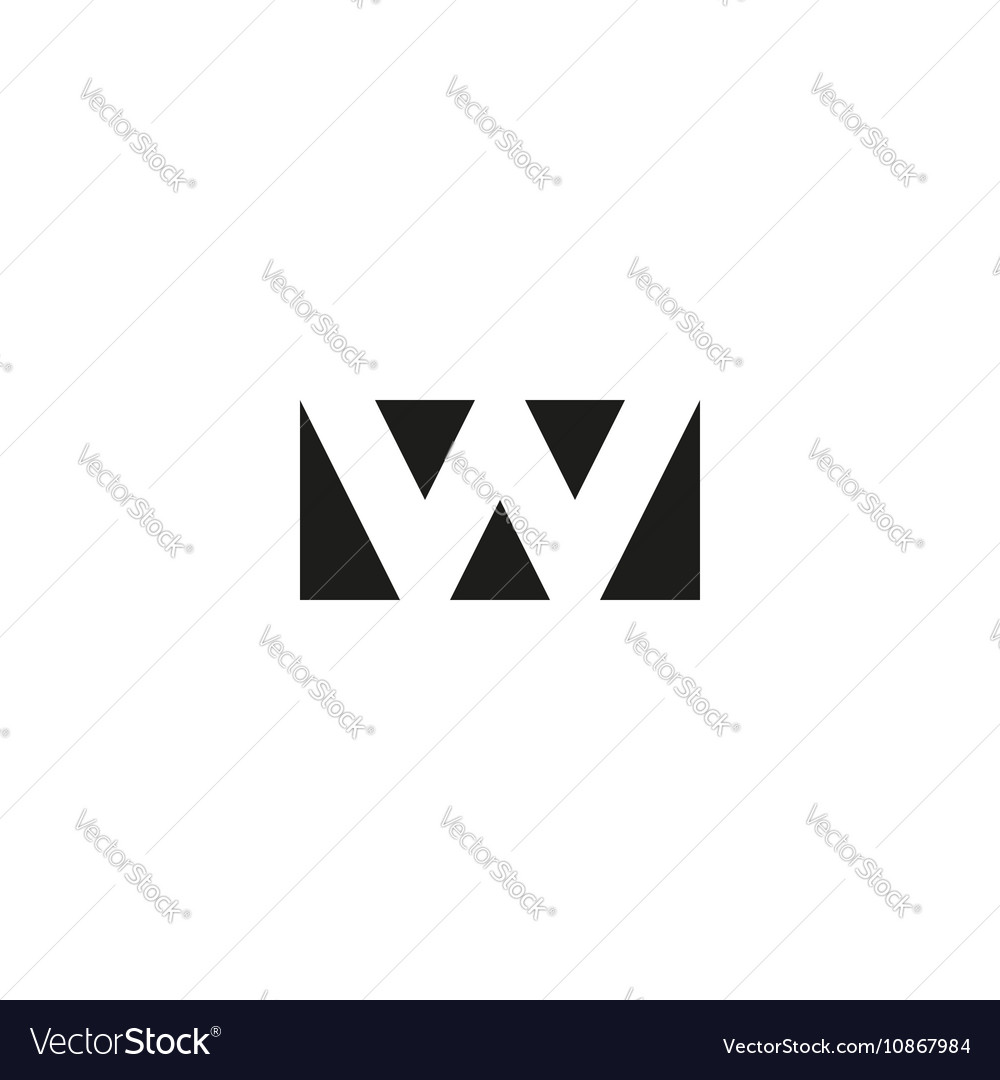 Letter W Logo App Icon Mockup Black And White Vector Image