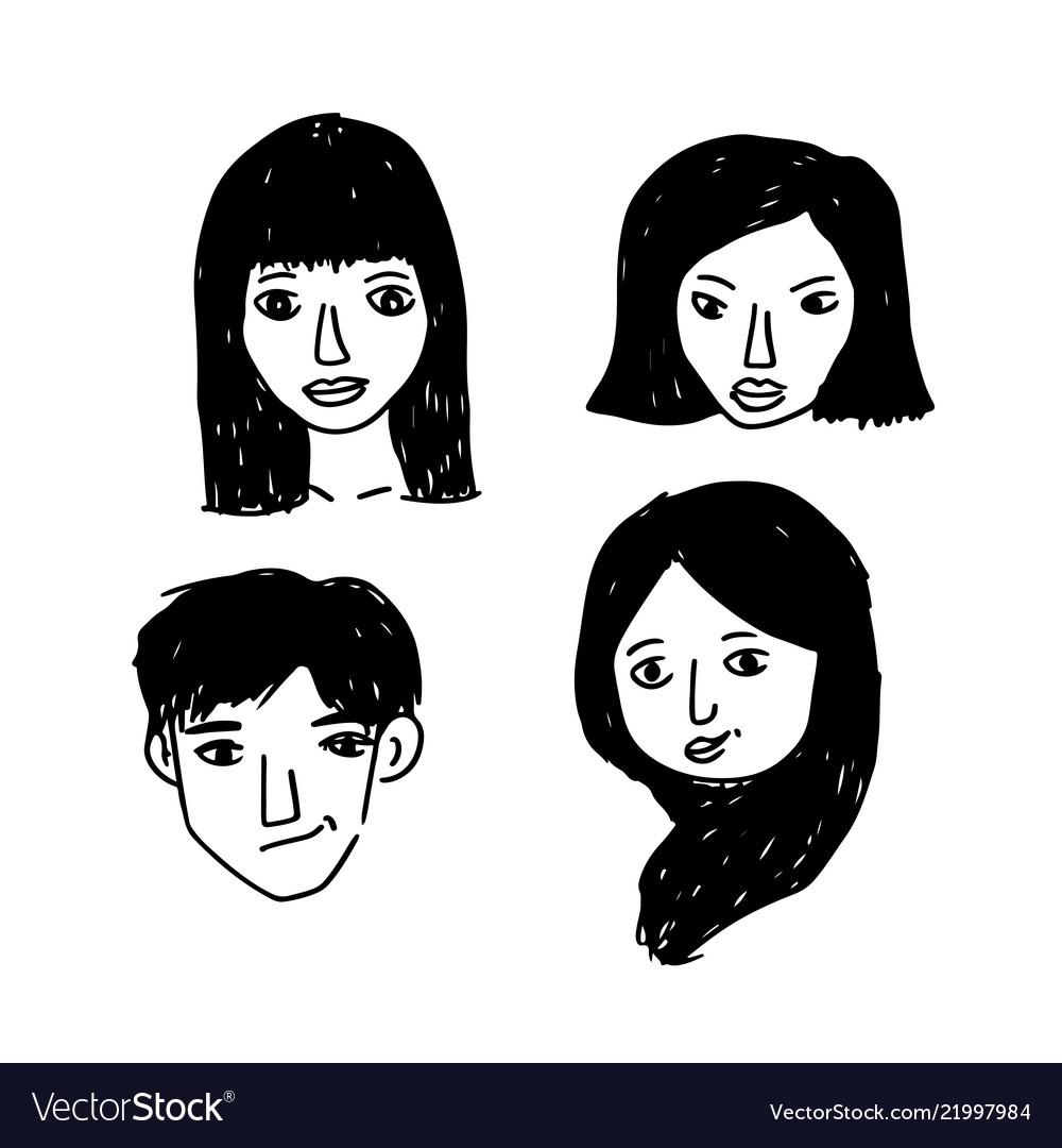 People face cartoon icon