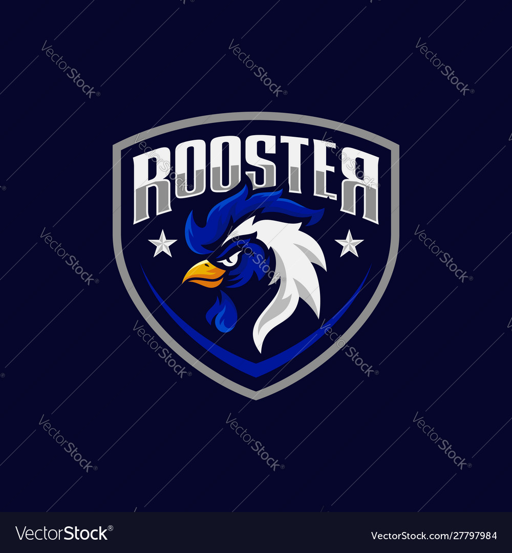 Rooster Mascot Sport Logo Design Royalty Free Vector Image