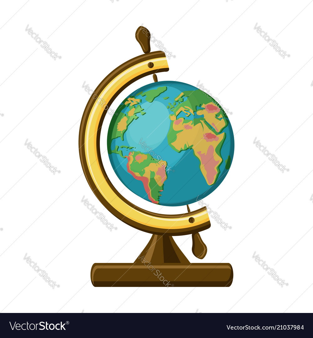 School globe in vintage style isolated on white vector image