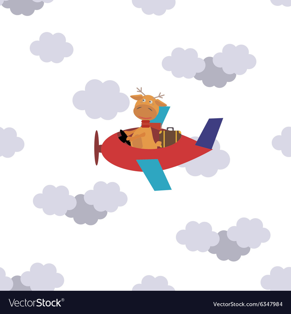 Seamless pattern flying deer on a plane in clouds