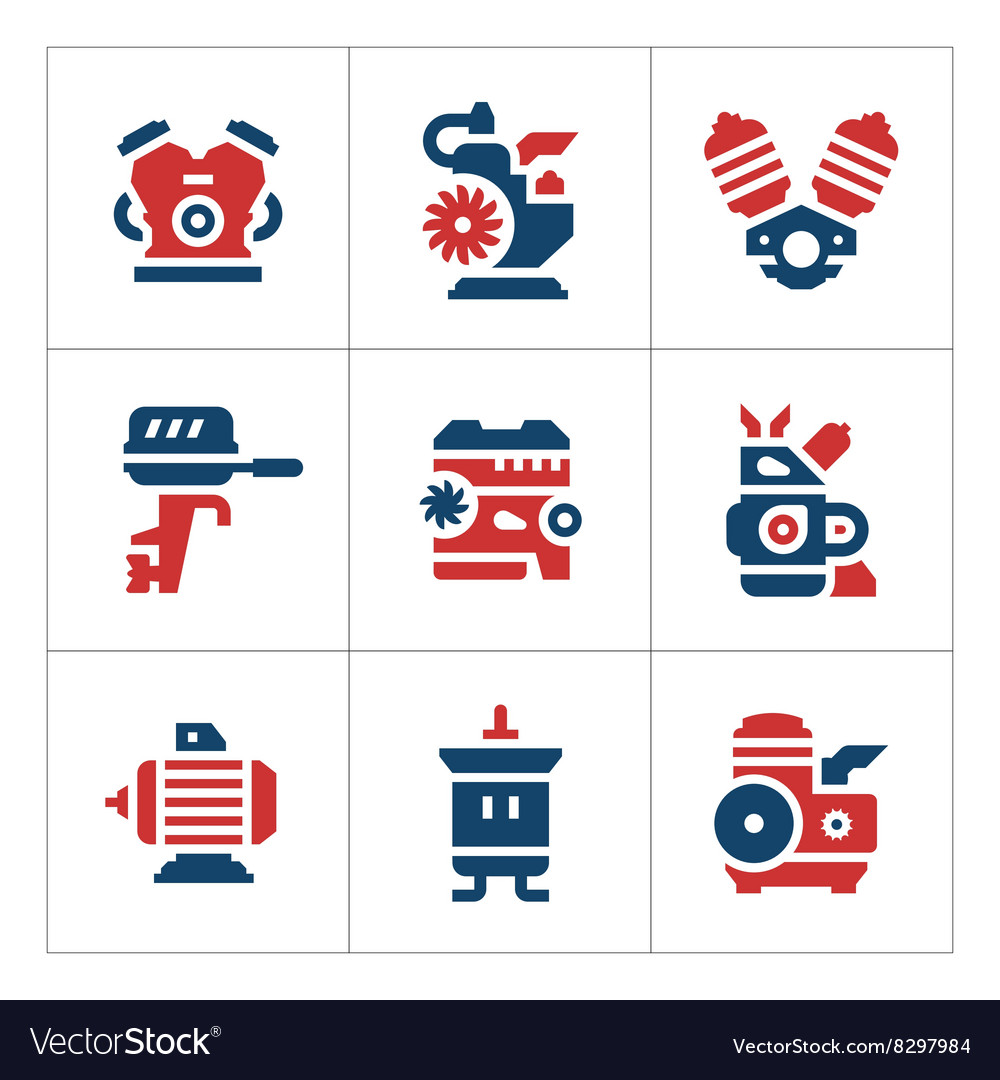 Set color icons of motor and engine vector image