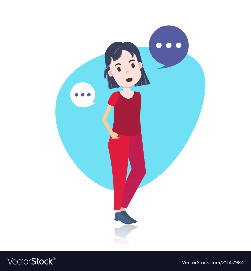 woman character standind chat bubbles template for