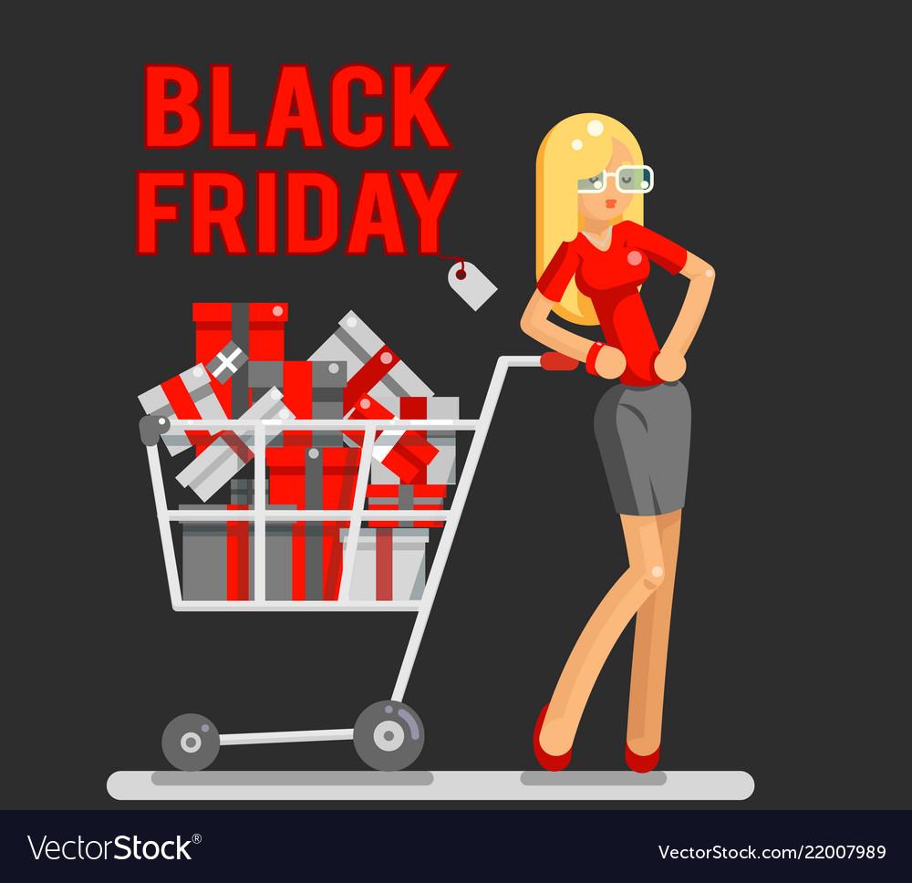 Black friday sale shop cart shopping woman