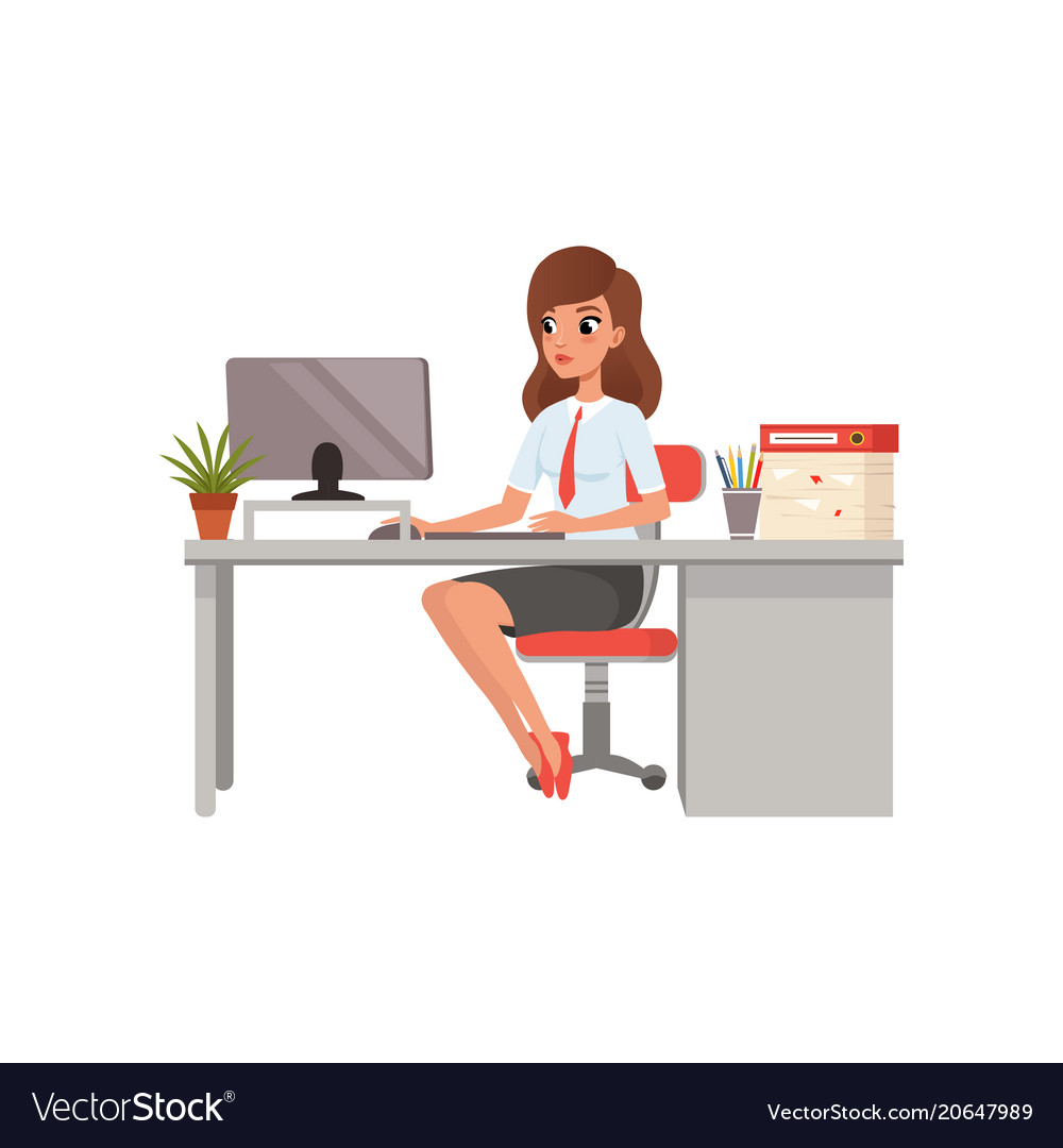 Businesswoman working with laptop computer at her